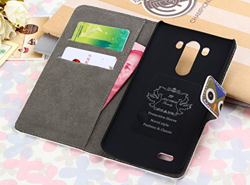 Crazy Panda LG G3 Case Cute Owl Colorful Painting Premium Vintage Flip Leather Wallet Card Open Pocket Case Stand Folio Cover Pouch for LG G3+Cleaning Cloth+Dust Plug+Wire Organizer (Gray+Red)