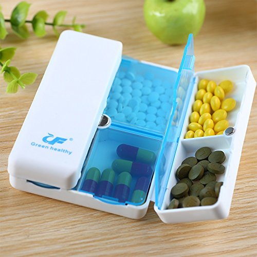Magnetic Foldable 7 Divided Compact Case 7-day Compartments Pill Organizer Box, Medicine Weekly Reminder with Translucent Snap Lids for Pills, Vitamins, Travel Pill Planner, Pocket size (Blue) (Size Travel Medicine)