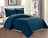 Elegant Comfort Luxury 3-Piece Bedspread Coverlet Diamond Design Quilted Set with Shams All All Season Heavy Weight- Hypoallergenic- Wrinkle & Fade Resistant, Full/Queen, Navy Blue/Gray