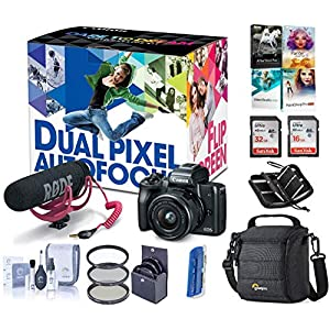 Canon EOS M50 Mirrorless Camera Video Creator Kit w/EF-M 15-45mm Lens, Black, Bundle with Rode VideoMic GO + Cam Bag + 32+16GB SD Card + Case + Reader + Filter Kit + PC Software Kit + Cleaning Kit