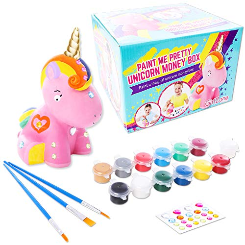 - Unicorn Gifts for Girls, Unicorn Craft, Paint Your Own Unicorn Money Box - Birthday Gifts for Girls