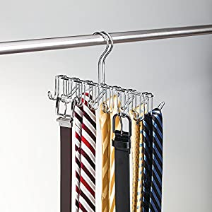 InterDesign Classico Closet Organizer Rack for Ties, Belts - 14 Hooks, Chrome