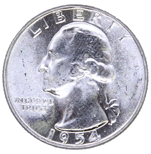 (1954 P Silver Washington Quarter 25c Brilliant Uncirculated)