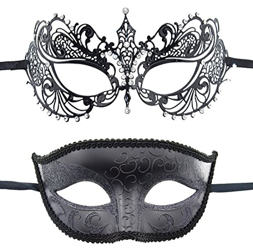 TANKEY 2 Pack Couple's Venetian Masks Set Masquerade Ball Mask Carnival Mardi Gras Prom Mask (Black)