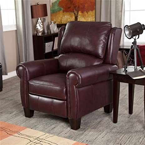Burgundy Top Grain Leather Upholstered Wing Back Club Chair Recliner