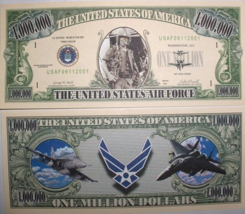 Set Dollar of 10 Bills-US AIR Force Million Dollar Set Bill by Novelties Wholesale e66b9b