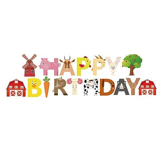 Amosfun decoraciones de cumpleaños con temática de granja ...
