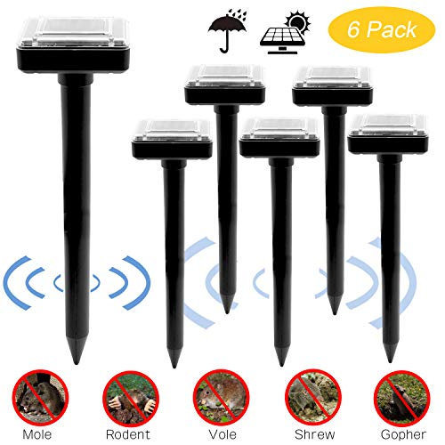 6PCs Ultrasonic Solar-Powered Device to Drive Mole Away Professional Mole Repeller Pest Deterrent Repelling Mole, Rodent, Vole, Shrew, Gopher, Snake for Outdoor Lawn Garden Yards ()