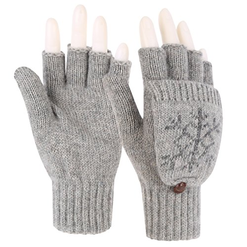 Womens Snowflake Convertible Gloves - Novawo Women Winter Warm Wool Blend Knitted Convertible Gloves with Mitten Cover (Grey Snowflake)