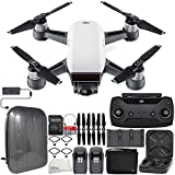 DJI Spark Portable Mini Drone Quadcopter Fly More Combo Hardshell Backpack Bundle (Alpine White)