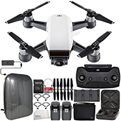 The Fly More Combo from DJI combines the Spark quadcopter with the Remote Controller, Charging Hub and hub power supply, a set of spare propellers, propeller guards, and a spare flight battery (for a total of two).Though agile in the air, dro...