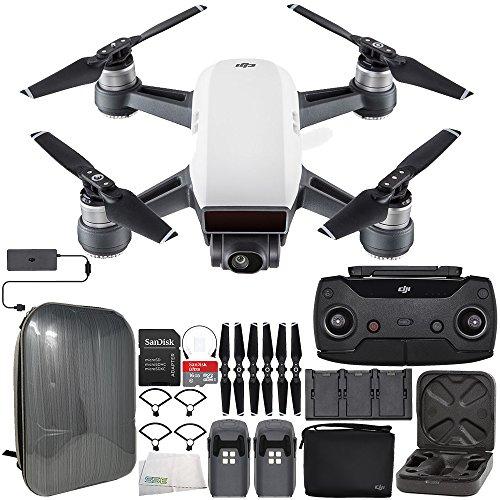 DJI Spark Portable Mini Drone Quadcopter Fly More Combo Hardshell Backpack Bundle (Alpine White)