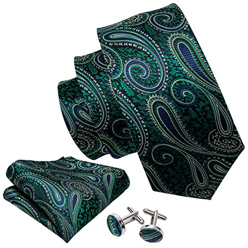 - Barry.Wang Stylish Green Tie Set Hanky Cufflinks Wedding Party Necktie,Green,One Size