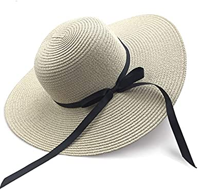 Sun Hats for Women Large Wide Brim Bowknot Straw Beach Hat UPF UV Floppy Foldable Packable Cap