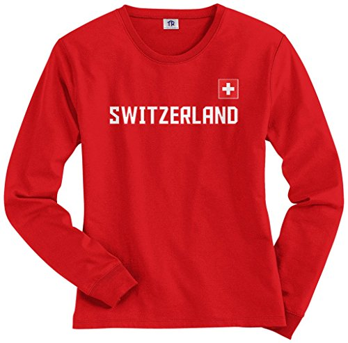 Threadrock Women's Switzerland National Pride Long Sleeve T-shirt S (Pride Long Sleeve Tee)