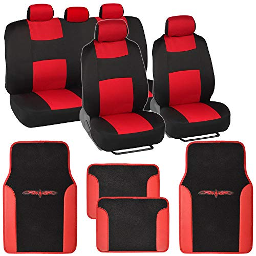 (BDK Red Combo Fresh Design Matching All Protective Seat Covers (2 Front 1 Bench) with Heavy Protection Sleek Graphic Auto Carpet Floor Mats (4 Set))