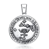 Archangel St.michael Seal Protection Medal Christian Talisman Sterling 925 Silver Pendant Necklace