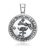 VENICEBEE JEWELRY Archangel St. Michael Saint Medal Sigil Seal Protection Talisman Solid 925 Sterling Silver Pendant Necklace Black Velvet Pouch Unique Spiritual Gift
