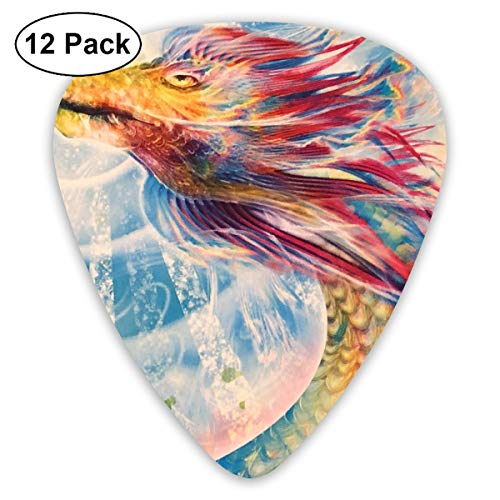 Shining Round Dial (Rainbow Dragon Shining in The Sun Ultra Light 0.46 Medium 0.73 Heavy 0.96mm Printed Round Flat Soft Plastic Jazz Electric Acoustic Bass Guitar Pick Accessories Variety Pack)