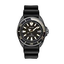 Seiko SRPB55 Mens Black Ion Prospex Automatic Dive Watch with Silicone Strap