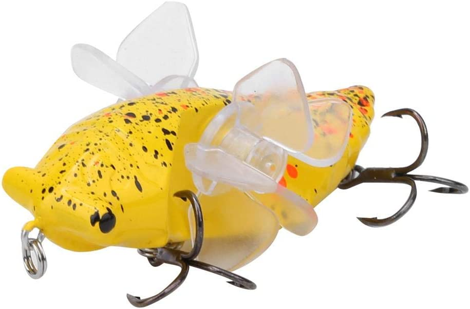 Bionic Cicada Shape Fishing Bait 7.5cm Hard Artificial Fish Lure Fishing Bait Hook with Rotating Spins