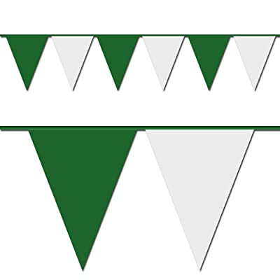 "Triangle Pennant Flags Green and White 12"" x 18"" 105 ft Long 4 Mil (48 flags per strand): Toys & Games"