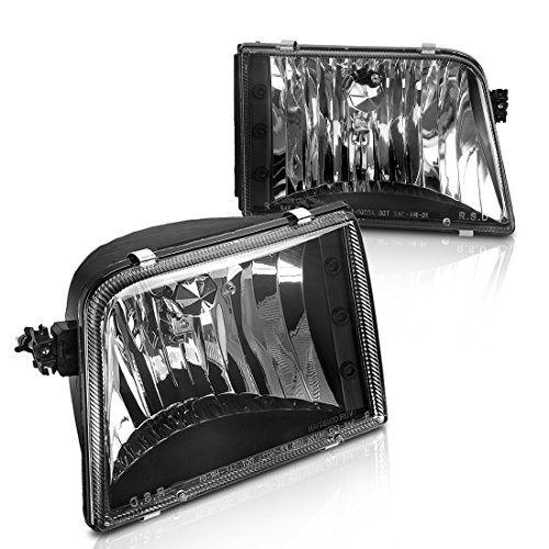 AUTOSAVER88 For 93 94 95 96 97 Ford Ranger Headlight Assembly,OE Headlamp,Black housing,One-Year Limited Warranty(Pair,F37Z13008B&F37Z13008A)