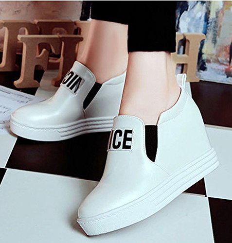 Idifu Moda Mujer AuHombrestar Las Zapatillas De Deporte De Cuña De Tacón Bajo Plano Redondo Del Dedo Del Pie En Los Zapatos De Plataforma Blanco