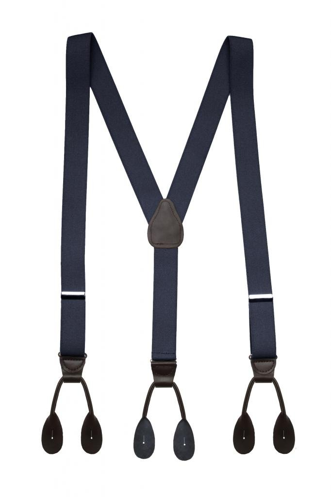 Hold'Em Suspender for Men Made in USA Y-Back Genuine Leather Trimmed button end tuxedo suspenders Many colors and designs - Navy (Regular, 46'' Long)