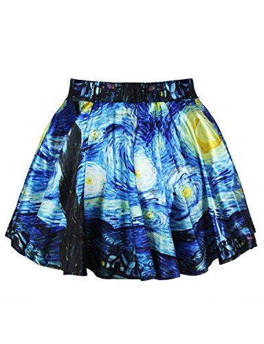 Wildestdream Womens Stretchy Flared Pleated Mini Skater Skirt Starry Night