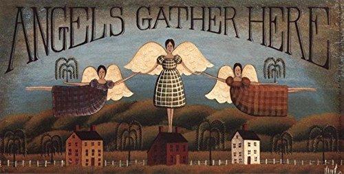 Buyartforless Angels Gather Here by David Harden 20x10 Folk Art Art Print Primitive