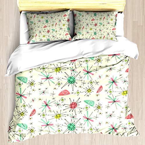 (Atomic 50s - Duvet Cover Set Soft Comforter Cover Pillowcase Bed Set Unique Printed Floral Pattern Design Duvet Covers Blanket Cover Queen/Full Size)
