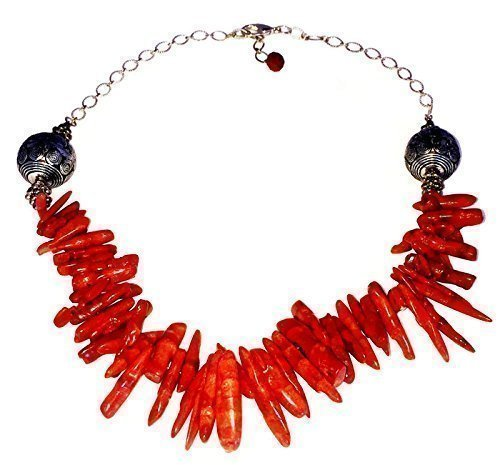 - Women's African Tribal Genuine Red Coral Clustered Chain Necklace Handmade by BJBJDesigns