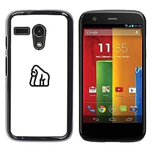 YOYOYO Smartphone Protección Defender Duro Negro Funda Imagen Diseño Carcasa Tapa Case Skin Cover Para Motorola Moto G 1 1ST Gen I X1032 - línea diseño negro, elefante