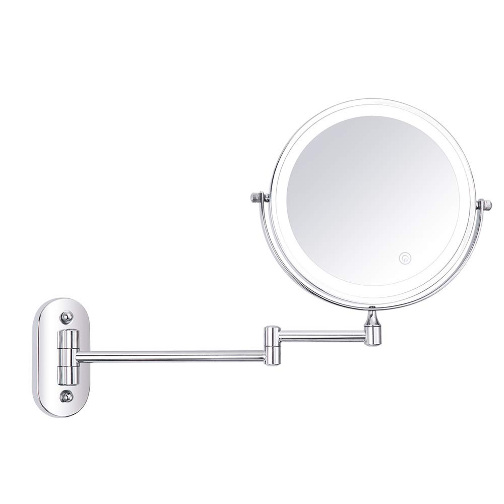 TXqueen 10X Wall Mounted Makeup Mirror - Double Sided Magnifying Makeup Mirror for Bathroom, 8 Inch Extension Polished Chrome Finished Mirror,10X by TXqueen