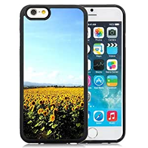 NEW Unique Custom Designed iPhone 6 4.7 Inch TPU Phone Case With Sunflower Field Clear Blue Sky_Black Phone Case