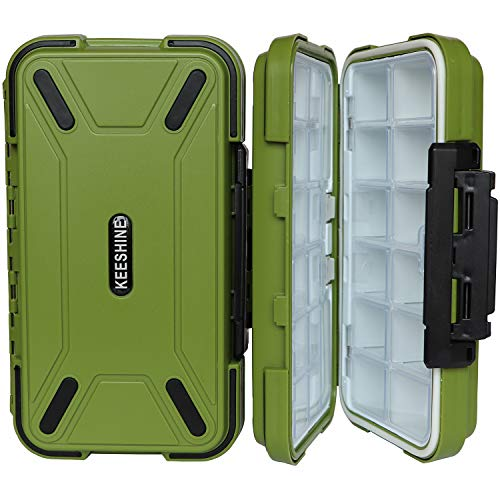 Compact Box - Keeshine Compact Waterproof Fishing Tackle Box, Storage Box, Plastic Fishing Lure Box, Removable Grid Storage Jewelry Organizer Making Kit Container for Lure Hook Beads Earring Tool(Green)