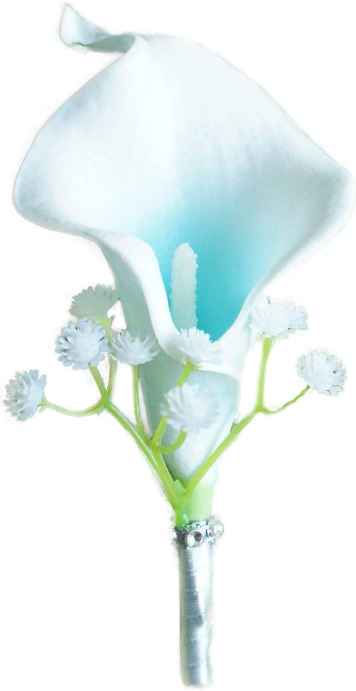 Lily Garden Artificial Wedding Floral Set Turquoise and White Calla Lily with Silver Ribbon and Bling (1 Single Boutonniere)