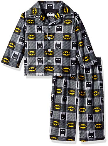 DC Comics Baby Boys Batman 2-Piece Pajama Coat Set, Batty Plaid, 12M -