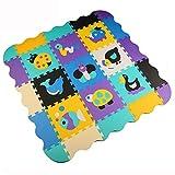 Menu Life P015 Soft Foam Play Mat Interlocking EVA Soft Jigsaw Puzzle Foam Baby Child Play Area Yoga Exercise Mats (32 x 32 x 1cm, 9pcs Play Mats with Fences)
