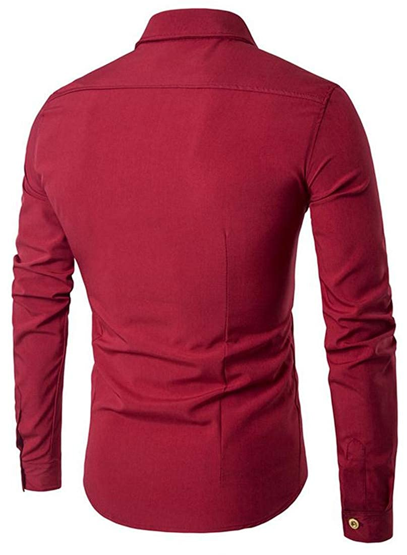 a0dec5576 Pandapang Men's Solid Double Breasted Long Sleeve Casual Classic Fit Shirts  at Amazon Men's Clothing store: