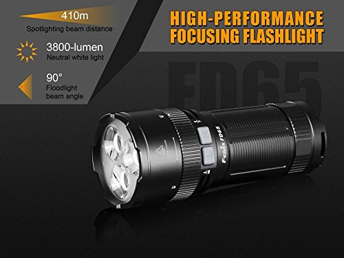 FENIX FD65 adjustable focus 3800 Lumen CREE LED military/ search rescue Flashlight with 2 X EdisonBright BBX3 battery carry cases bundle by EdisonBright (Image #1)