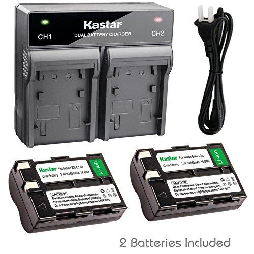 (Kastar 2x Battery + Fast Dual Charger for Nikon EN-EL3a EN-EL3 Battery and Nikon D50, Nikon D70, Nikon D70s, Nikon D100, Nikon D100 SLR Cameras (Color: Black))