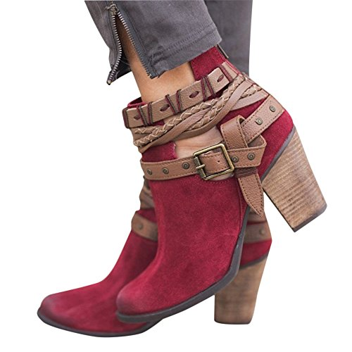 XMWEALTHY Women's Chunky Heels Boots Buckle Strap Block Heels Ankle Boots Red US 9.5 by XMWEALTHY