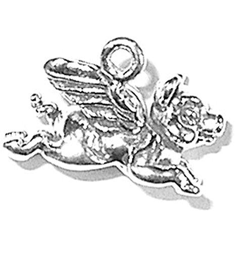 925 Sterling Silver Flying Joyful Pig Hog Boar Charm For ()