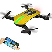 Global Drone GW018 Mini Foldable Pocket Drone FPV WIFI Real-Time View 2MP HD Camera Altitude Hold 3D Flips & Rolls (Yellow)