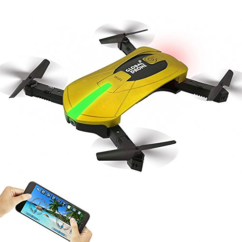 Global Drone GW018 Foldable Pocket Drone FPV WiFi Real-Time View 2MP HD Camera Racing Quadcopter Altitude Hold 3D Flips & Rolls (Gold)