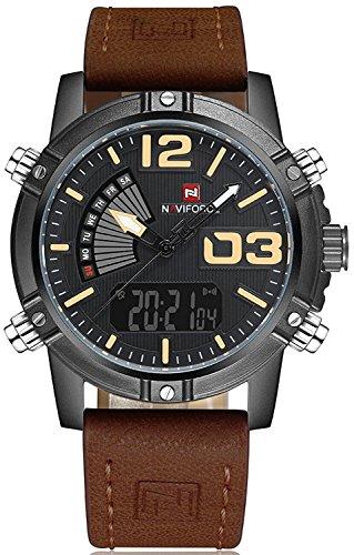 NAVIFORCE Fashion Luxury Brand Men Waterproof Military Sports Men's Quartz Digital Leather WristWatches