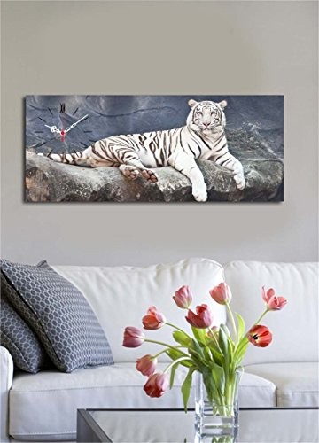 Wild Canvas Wall Art with Real Running Clock - Predator White Tiger, Big Cat Photography - Ready to Hang, Framed Painting, Size (12