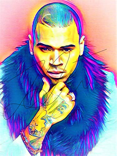 (Chris Brown Abstract Drawing Print Poster Hand Drawn Pop Art Vibrant Painting #CHRISBROWN_ABSTRACT1)